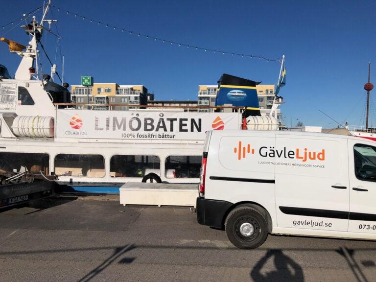 Limöbåten för nytt ljudsystem från Gävle Ljud. Installationen skedde våren 2020 och stod färdig till premiärturen i april.