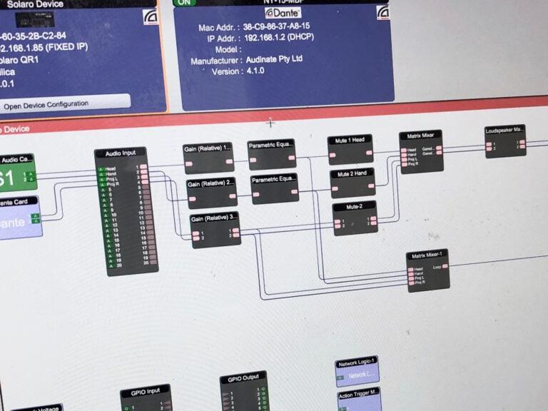 Design och programmering av Xilica Solaro QR-1 i mjukvaran XilicaDesigner. Här ses ingångar som via matriser matar hörslinga samt högtalare i rummet.