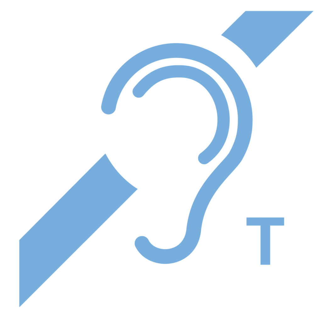 Skylt för hörslinga och hörslingor